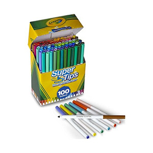 Crayola Super Tips Marker Set, Washable Markers, Assorted Colors, Art Set for Kids, 100 Count  (B071CP6X88-com) new