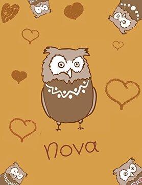 portada Nova: Personalized Nova Name owl Themed Sketchbook or Blank Book Journal. Unique owl Personalised Notepad. Personalisiert Eule (libro en inglés)